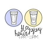 WBar Happy Hour Promotion Sign Design Template Hand Drawn Hipster Sketch With Two Shots In Round Frames