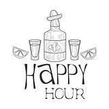 Bar Happy Hour Promotion Sign Design Template Hand Drawn Hipster Sketch With Tequila Bottle And Shot Glasses