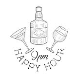 Bar Happy Hour Promotion Sign Design Template Hand Drawn Hipster Sketch With Whiskey Bottle, Martini And Wine Glasses
