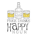 Bar Happy Hour Promotion Sign Design Template Hand Drawn Hipster Sketch With Whiskey Bottle And Two Glasses