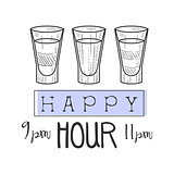 Bar Happy Hour Promotion Sign Design Template Hand Drawn Hipster Sketch With Set Of Shot Cocktails