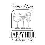 Bar Happy Hour Promotion Sign Design Template Hand Drawn Hipster Sketch With Wine And Cocktail Glasses