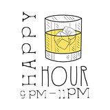 Bar Happy Hour Promotion Sign Design Template Hand Drawn Hipster Sketch With Glass With Whiskey And Ice Cubes