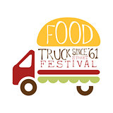Food Truck Cafe Food Festival Promo Sign, Colorful Vector Design Template With Vehicle With Burger For Trailer Silhouette