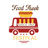 Food Truck Cafe Food Festival Promo Sign, Colorful Vector Design Template With Vehicle And Hot Dog Silhouette