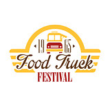 Food Truck Cafe Food Festival Promo Sign, Colorful Vector Design Template With Vehicle Silhouette With Establishment Date