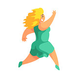 Happy Blond Plus Size Woman In Short Green Summer Dress Running Enjoying Life, Smiling Overweighed Girl Cartoon Characters