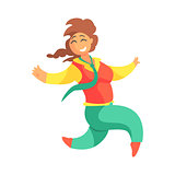 Happy Plus Size Woman In Red Vest And Green Pants With Plat Running, Enjoying Life, Smiling Overweighed Girl Cartoon Characters