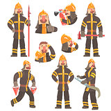 Funny Fireman At Work Using Firefighting Gear And Wearing Firefighter Uniform With Helmet And Bunker Coat
