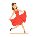 Woman In Fancy Red Dress Overwhelmed With Happiness And Joyfully Ecstatic, Happy Smiling Cartoon Character