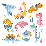 Funky Stylized Dinosaurs Real Species And Imaginary Jurassic Reptiles Collection Of Colorful Childish Prints
