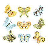 Fantastic Tropical Butterfly With Funky Design Patterns On The Wings Set Of Creative Insect Drawings
