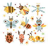 Funky Bugs And Insects Set Of Small Animals With Smiling Faces And Stylized Design Of Bodies