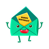 Envelop With Greeting Postcard, Happy Birthday And Celebration Party Symbol Cartoon Character