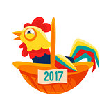 Rooster Cartoon Character Sitting In Wicker Basket,Cock Representing Chinese Zodiac Symbol Of New Year 2017