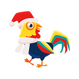 Rooster Cartoon Character Wearing Hat And Scarf ,Cock Representing Chinese Zodiac Symbol Of New Year 2017