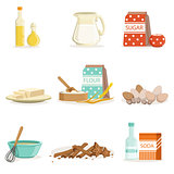 Baking Ingredients And Kitchen Tools And Utensils Collection Of Realistic Cartoon Vector Illustrations With Cooking Related Objects