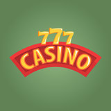 Casino Label Outdoor Sign In Red And Golden Colors, Gambling And Casino Night Club Related Cartoon Illustration