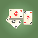 Three Playing Cards For Poker Game, Gambling And Casino Night Club Related Cartoon Illustration
