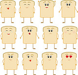 Emoticon icon of Bread on the white background