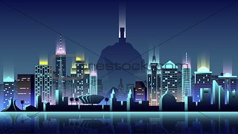 Brazil city night neon style architecture buildings town country travel