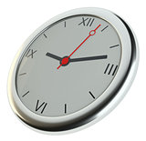 Realistic classic silver round wall clock