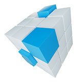 Abstract cube assembling from blocks
