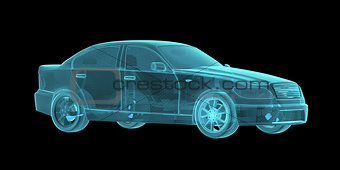 Car Hologram Wireframe
