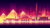Egypt city night neon style architecture buildings town country travel