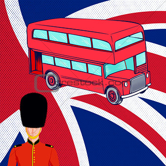 British red bus, Royal guard, flag UK.