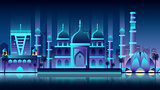 India city night neon style architecture buildings town country travel