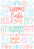 Happy Easter, set of vector doodles