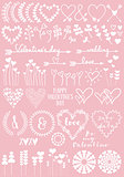 Floral heart designs, vector set