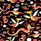 Seamless pattern of bright funny dragon