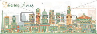 Abstract Buenos Aires Skyline with Color Landmarks