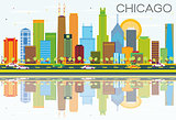 Chicago Skyline with Color Buildings and Reflections.