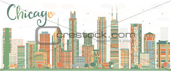 Abstract Chicago Skyline with Color Buildings.