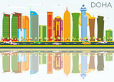 Doha Skyline with Color Buildings, Blue Sky and Reflections.