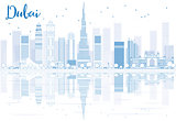 Outline Dubai skyline with blue buildings and reflections.