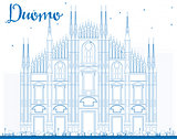 Outline Duomo in Blue Color. Milan. Italy.