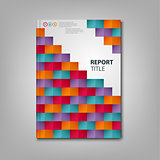 Brochures book or flyer with colored paper square mosaic template