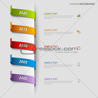 Time line info graphic with colorful bookmarks tucked template