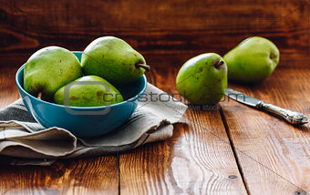 Green Pears in Blue Bowl