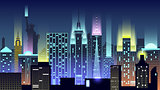 USA city night neon style architecture buildings town country travel