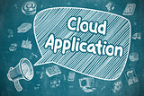 Cloud Application - Cartoon Illustration on Blue Chalkboard.