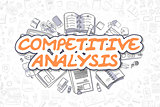 Competitive Analysis - Doodle Orange Word. Business Concept.