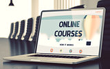 Online Courses Concept on Laptop Screen. 3D.