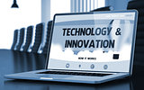 Technology and Innovation Concept on Laptop Screen. 3D.