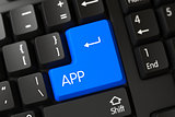 Keyboard with Blue Button - App. 3D.