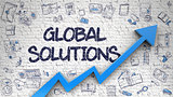 Global Solutions Drawn on White Brick Wall.